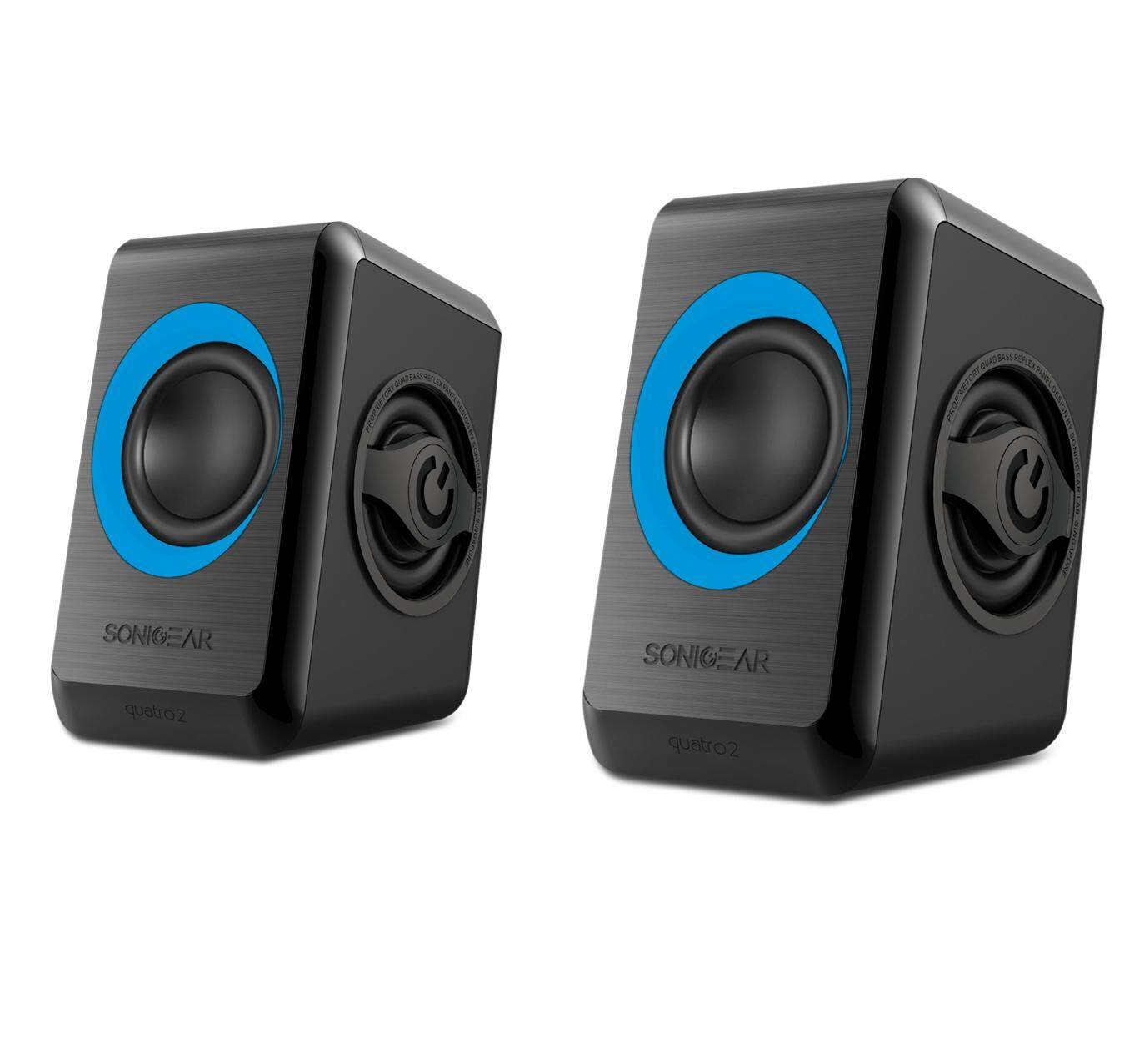 Sonic Gear Quatro 2 Stereo Speakers 2.0 with Quad Bass (USB Powered, Blue Version, 1 Year Warranty)