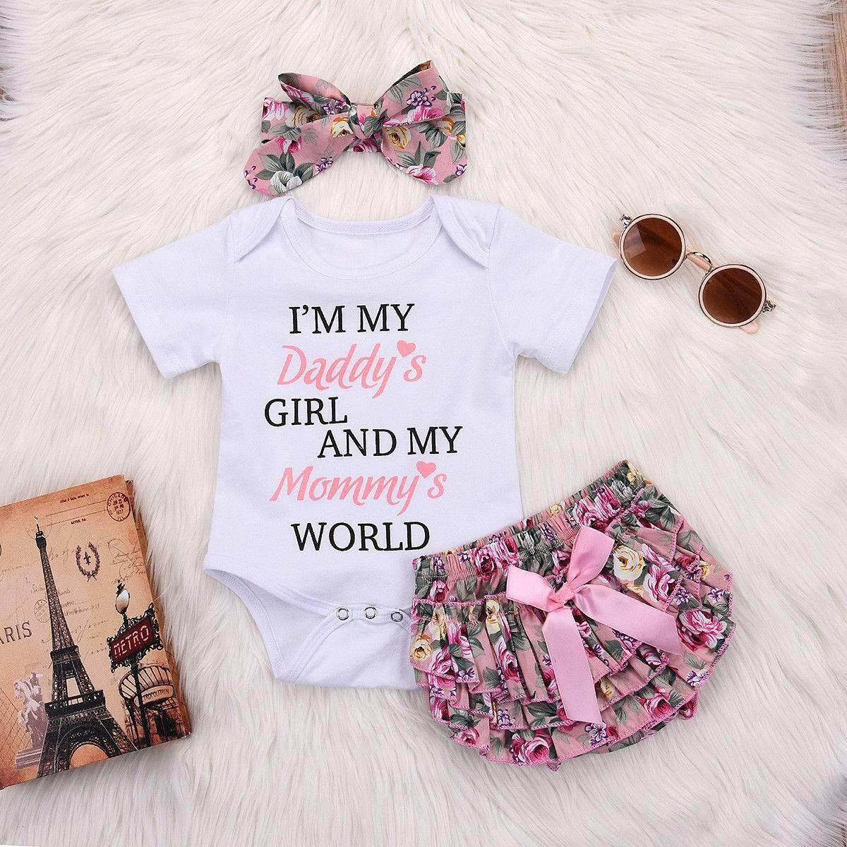 48ad86e940e55 3PCS Newborn Kids Baby Girl Clothes Romper Bodysuit+Tutu Pants Dress Set
