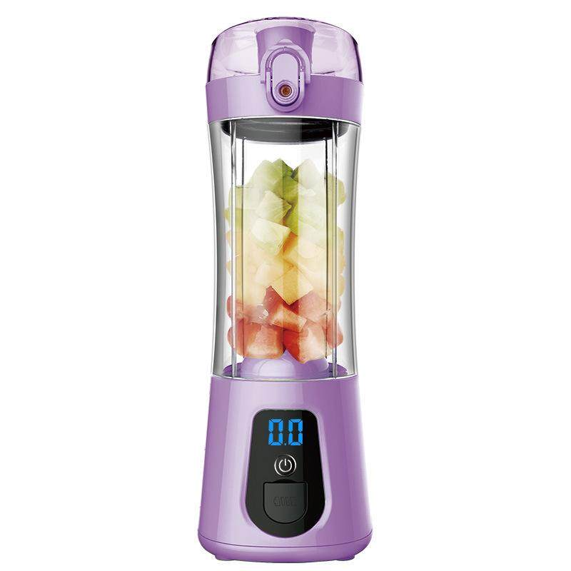 LumiParty Mini Portable Electric Juice Bottle Mixer Cup with Power Bank Rechargeable USB Fruit Juicer with Travel Lid & LCD Display for Water, Protein Shakes, Smoothies