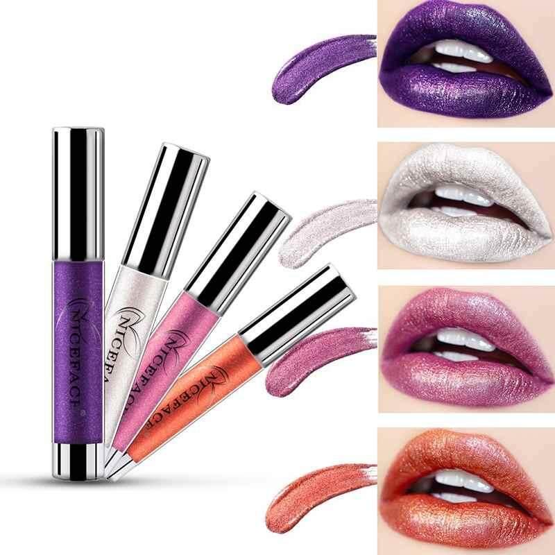 Lissng NICEFACE Non-stick Cangkir Tidak Pudar Logam Pelembap Bibir Melembapkan Tahan Lama Lipstick Cair Yang Unik Shinning & Kelembaban Formula Pelembap Bibir 1 #