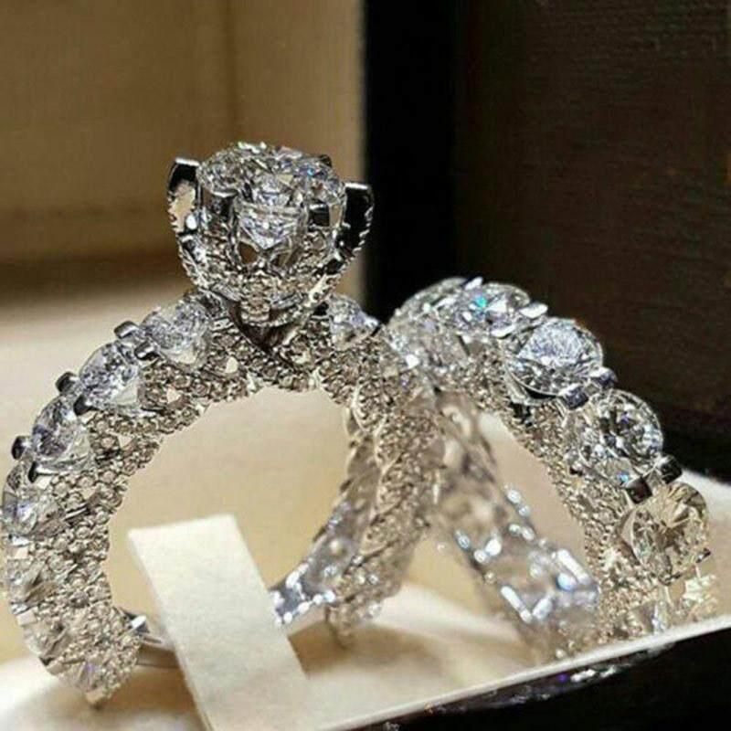 Cặp nhẫn cưới thời trang hợp kim đính pha lê Zircon phong cách cổ điển, lãng mạn, kích cỡ 6/7/8/9/10 - INTL