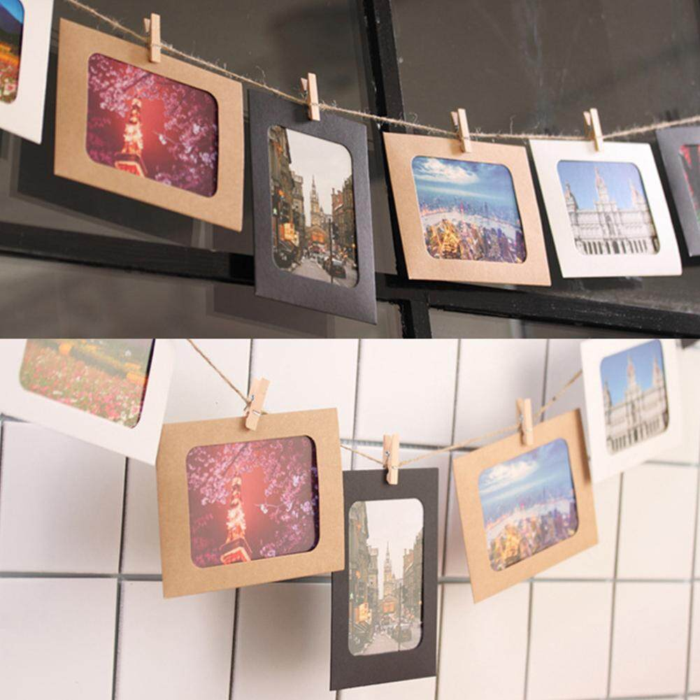 Detail Gambar DX 10 Pcs DIY Warna Lukisan Dinding Kraft Foto Bingkai Gantung Album dengan Tali