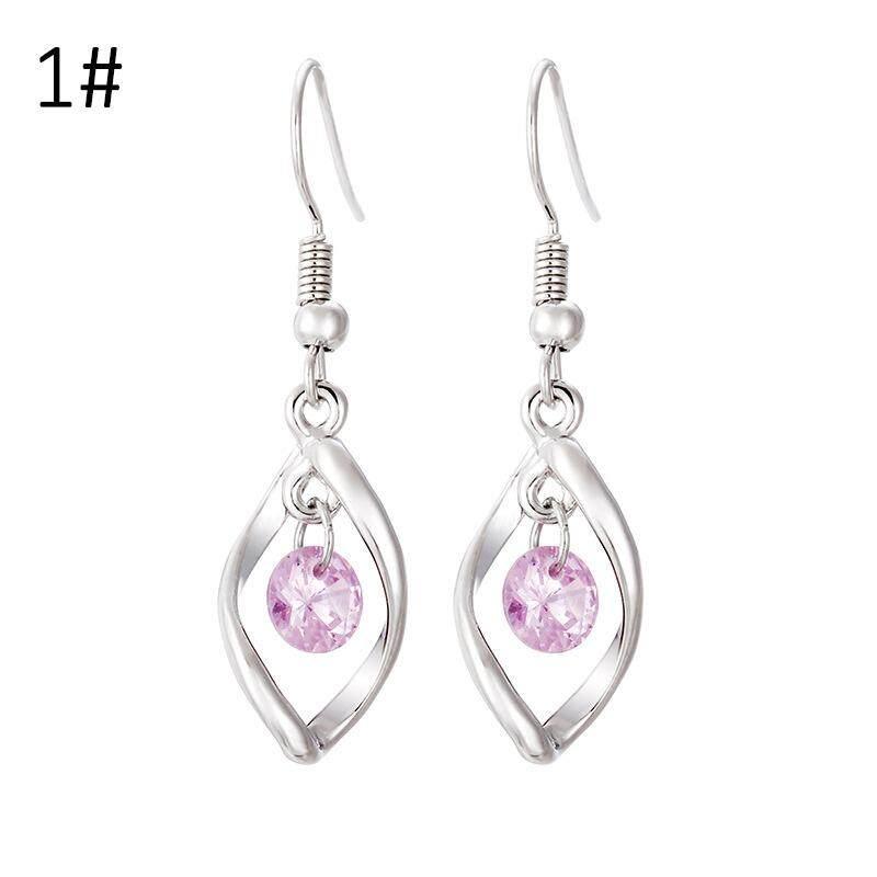 Sterling Silver Anting-anting Bentuk Belah Ketupat Wanita Modern Bersinar Zirkon Berlian Imitasi Perhiasan Modis Anting-Intl