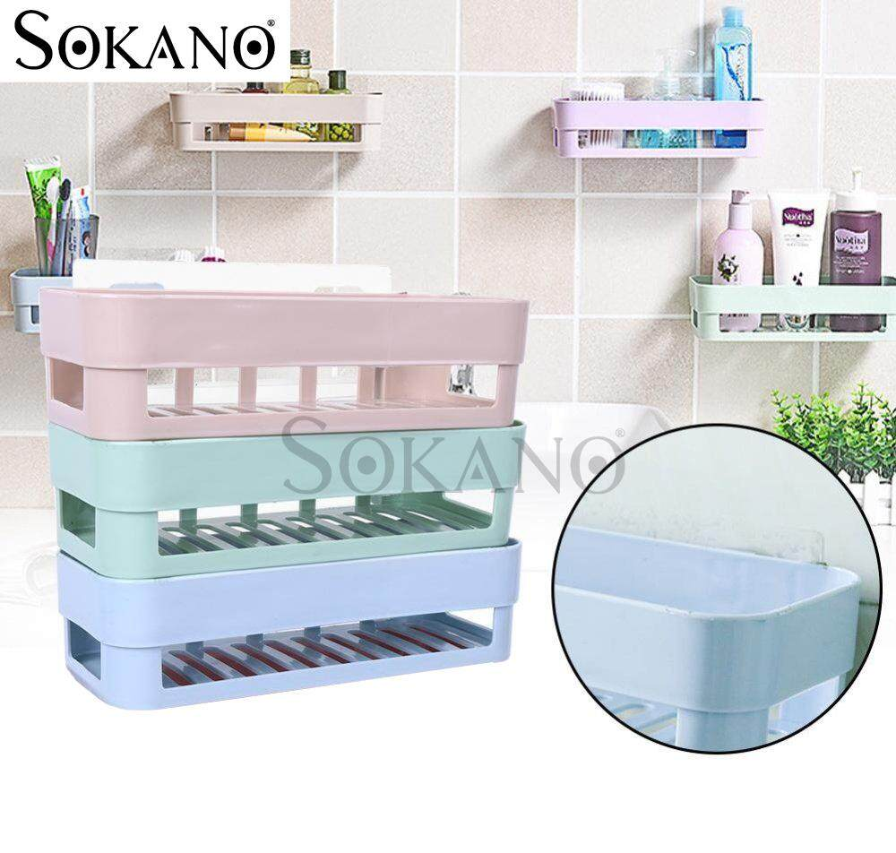 BUNDLE Set of 3: SOKANO TH007 Bathroom Kitchen Dapur Wall Mounted Shelves Racks with Stick Type (No need Drill)