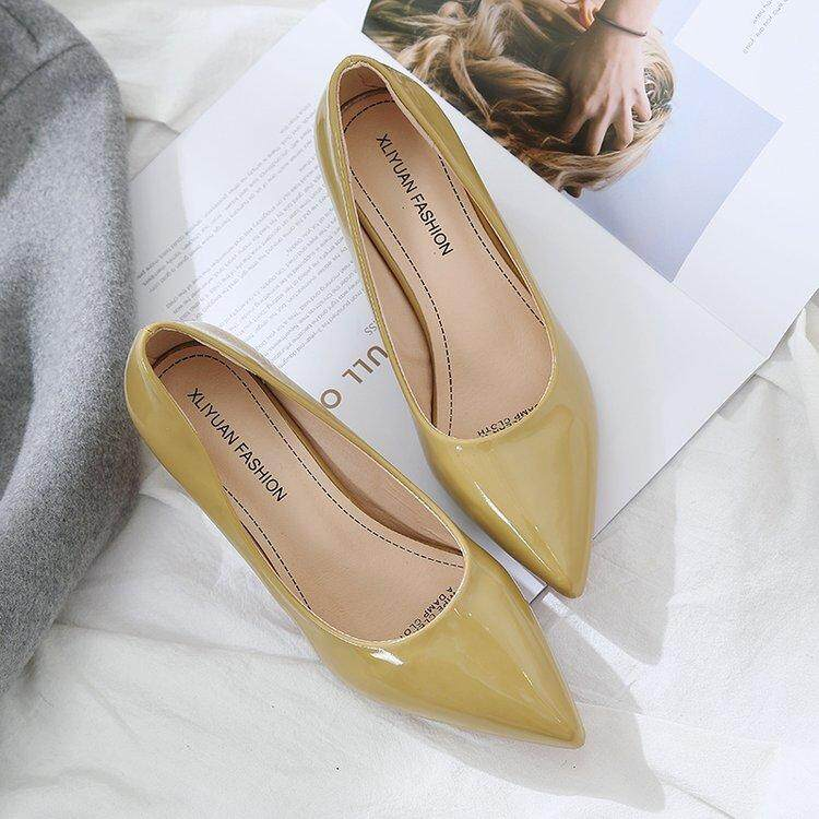 2019 Spring New Style Korean Style Versatile Online Celebrity Block Heel Pointed High Heel Shoes Shallow Mouth Patent Leather Going To Work Shoes Female Semi-High Heeled By Taobao Collection.