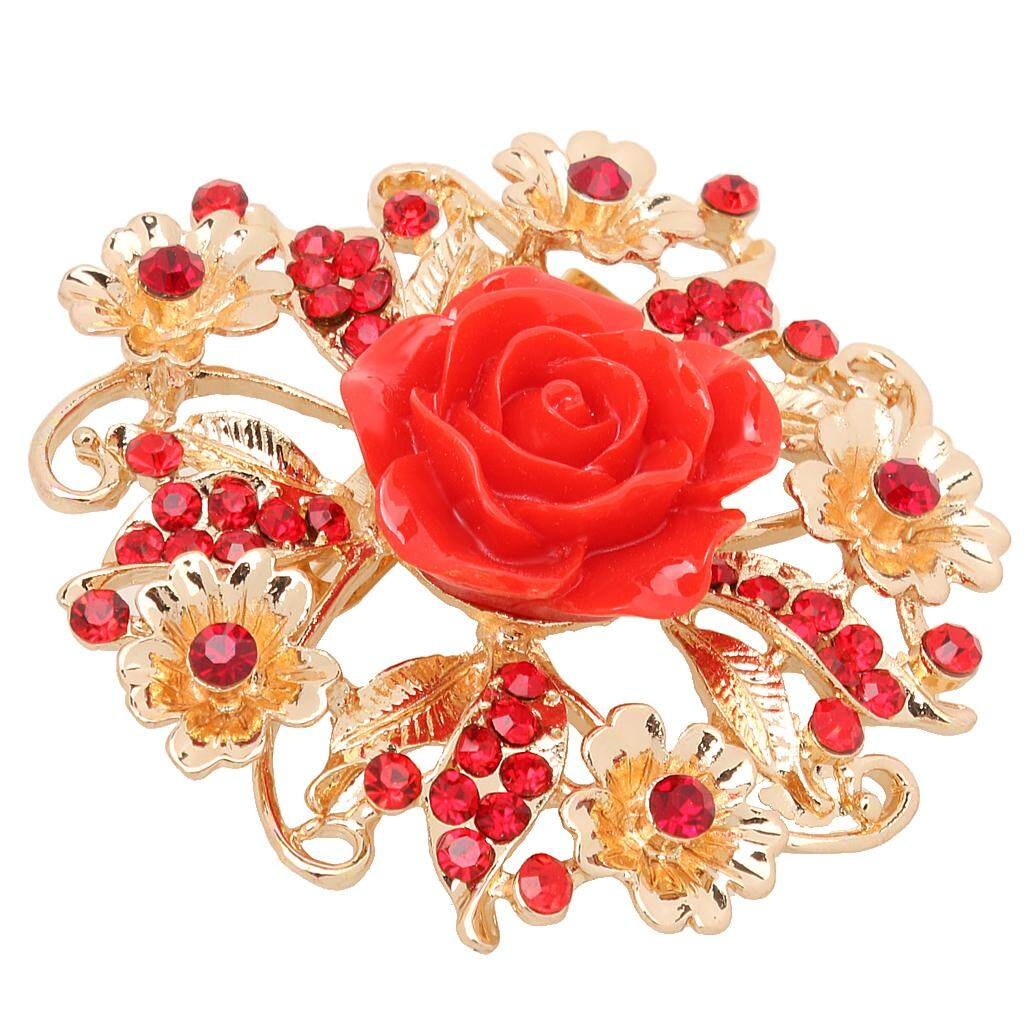GuangquanStrade Vintage Alloy Crystal Rose Flower Wedding Bridal Bouquet Brooch Pin Red
