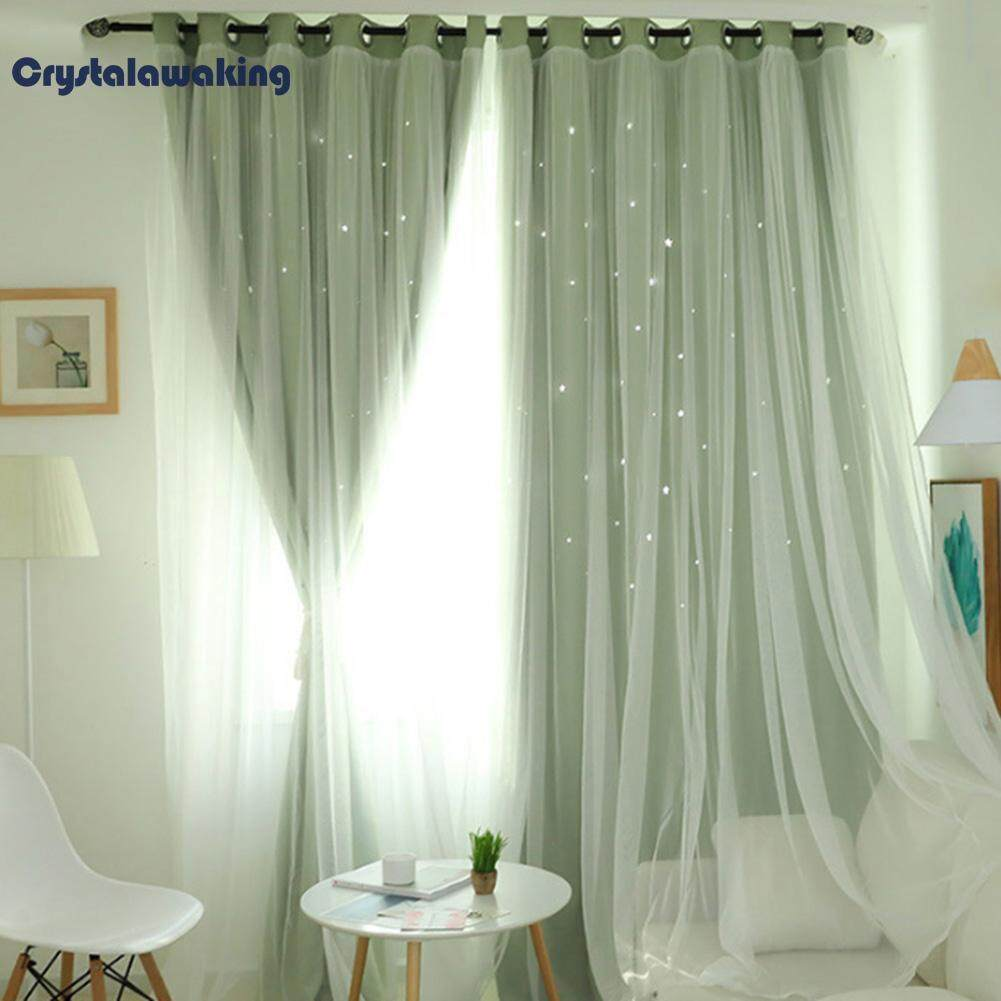 Hollowed Out Star Shading Window Curtain Drapes Purdah for Home Living Room