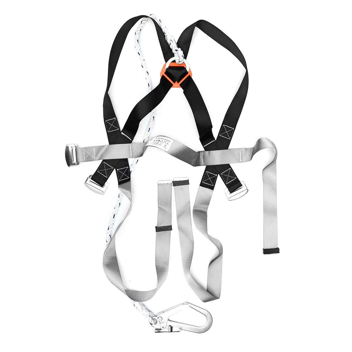 Safety Fall Protection Kit Full Body Harness W 6 Shock-Absorbing Safey Lanyard By Glimmer.