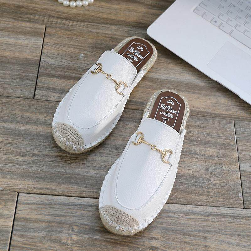 f3df3286a353a 2 Color Summer Baotou Half Slipper Female Flat Fisherman Shoes Wear Casual  Sandals And Slippers Without