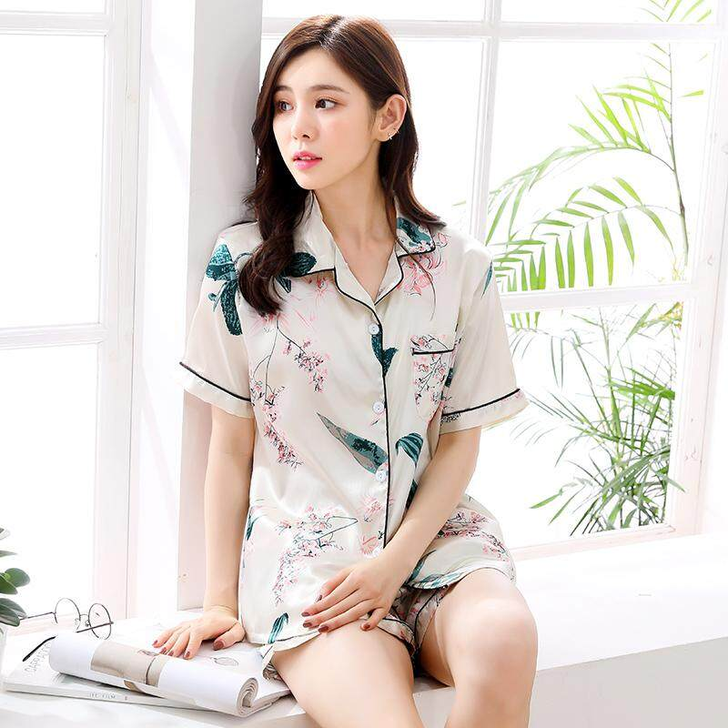 f8b5dfa8810b Pajamas women Summer Short Sleeve Silk Sexy Summer women Thin Large Size  Home Service Two-