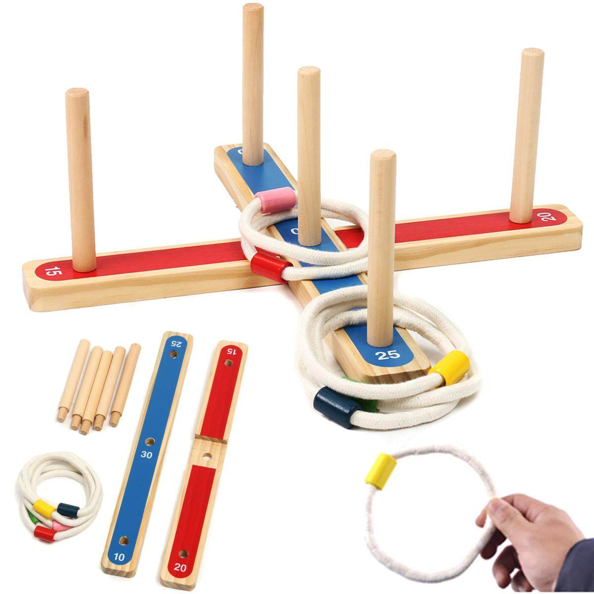 Hình ảnh Rope Hoop Wooden Quoits Fun Ring Toss Game Toy Pegs Hoopla Activity Toys Ringer