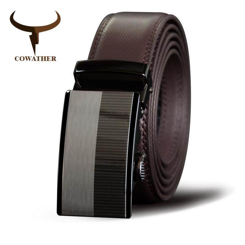 COWATHER Men's Leather Belt Slide Ratchet 100% Cow Leather Belts for Men with Automatic Sliding
