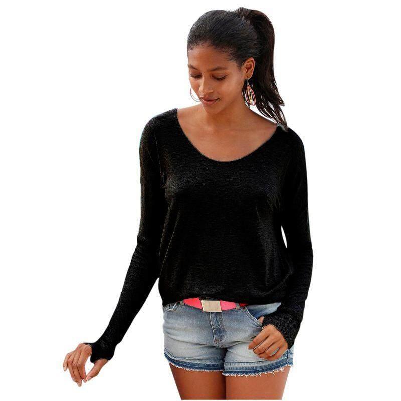Autumn Winter Black Gray Cotton Women Top Long Sleeve T-shirt Sexy Backless T Shirt Open Deep Back Irregular Top Tee Shirt (Black,M/US~6/UK~10)