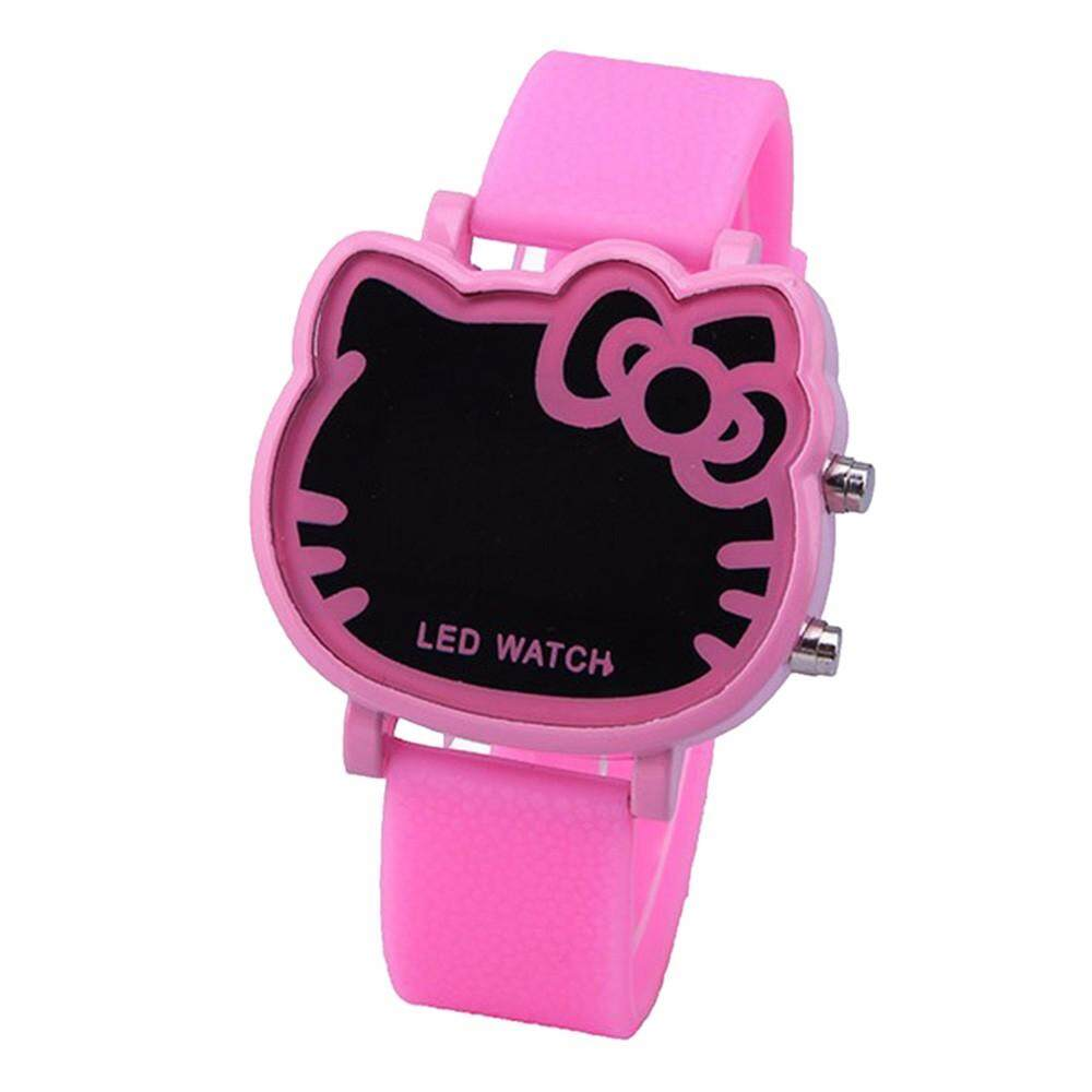 Hello Kitty Style Cartoon Children LED Digital Watch For Kids, Fashion Silicone Strap Wrist Watch