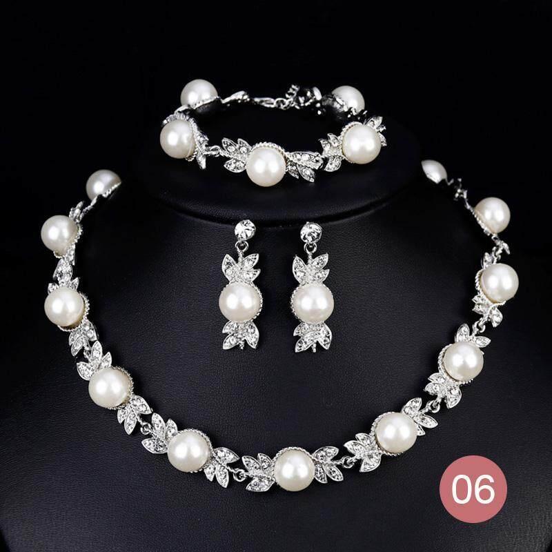 Necklace Earring Jewelry Women Lady Wedding Shooting Rhinestone Pearl Set Fashion - intl