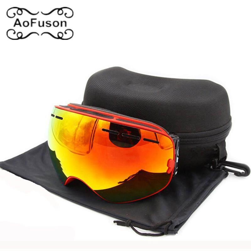 Marke Skibrillen Doppelschichten Anti-Kabut Visi Besar Gambar Motocross Brillen Schnee Motor Salju Papan Seluncur Salju Goggle MIT Asli Jatuh-Intl