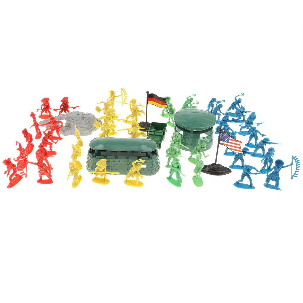 MagiDeal 68 Pieces Soldier Army Figures Blockhouse Playset for Army Sand Scene Model