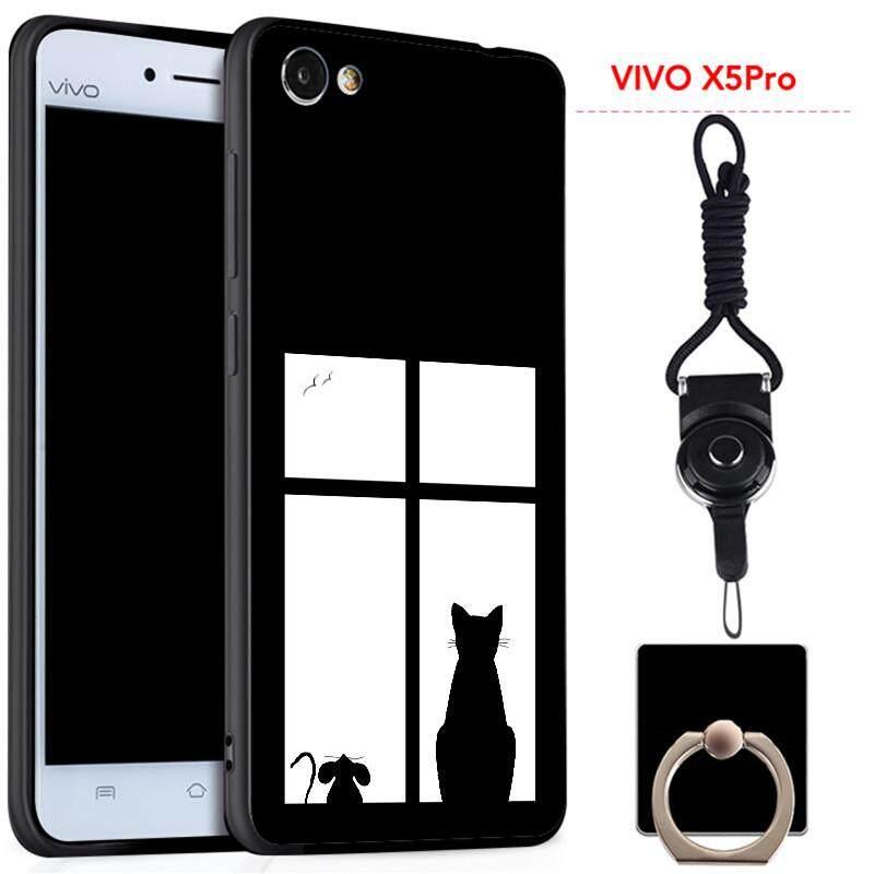 Untuk VIVO X5Pro Silica Gel Casing Lembut Ponsel dengan Cincin dan Tali