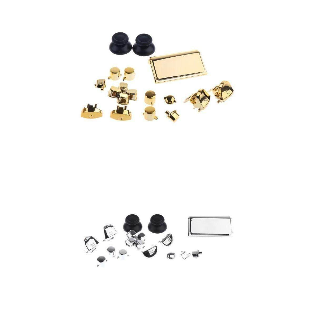 Replacement Full Buttons Custom Mods Kit Set For Sony PS4 Controller Silver+Gold