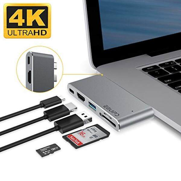 USB C Hub For MacBook Pro 13 & 15 2016/2017, EQUIPD Aluminum Type C to 4K HDMI Combo Hub Adapter, Charging port, Thunderbolt 3 port, MicroSD/SDHC/SDXC Card Reader, USB 3.0 Port, USB-C port - Grey - intl
