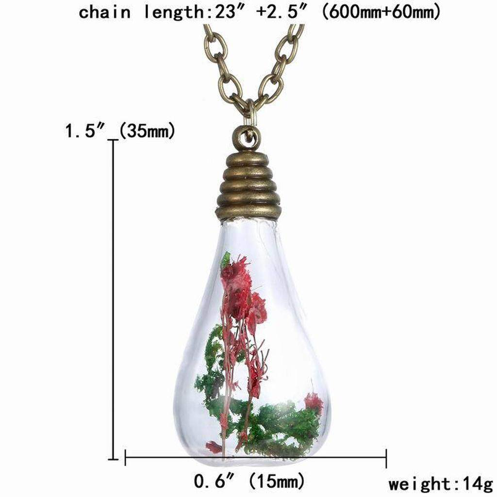 GuangquanStrade Vintage Fashion Red Dried Flowers Teardrop Pendant Necklace Jewelry Gift New