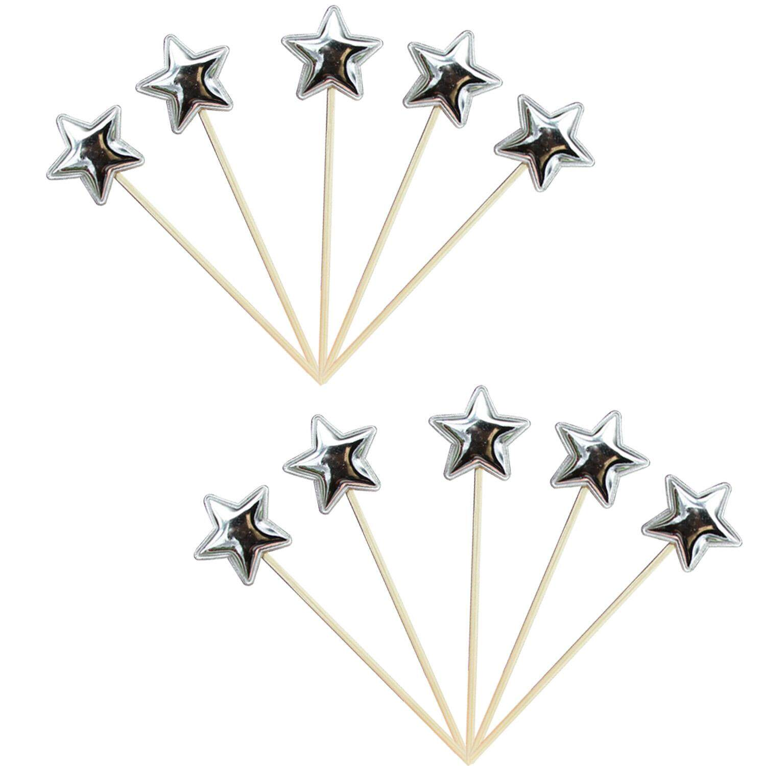 10pcs Lovely Star Shape Cake Topper Picks Birthday Cupcake Snacks Decor For Baby Shower Wedding Party Decoration Supplies Random Color - Intl By Stoneky.