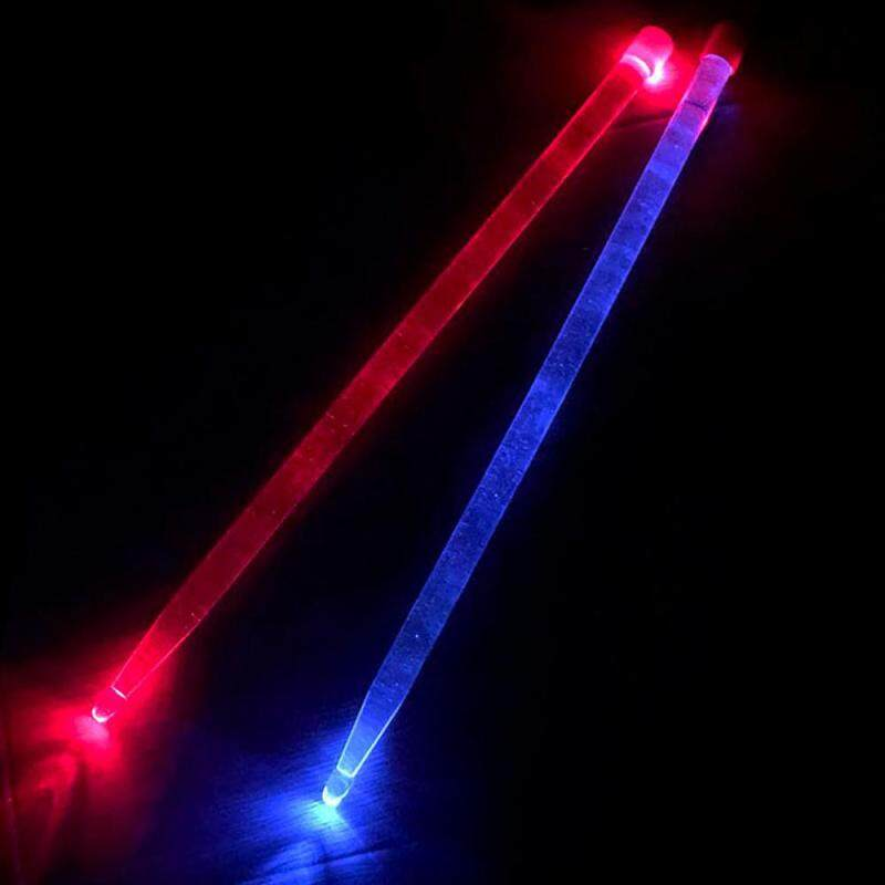5A Acrylic Drum Stick Blue&Red Glow Alternately Noctilucent Glow in The Dark Stage Performance Luminous Jazz Drumsticks