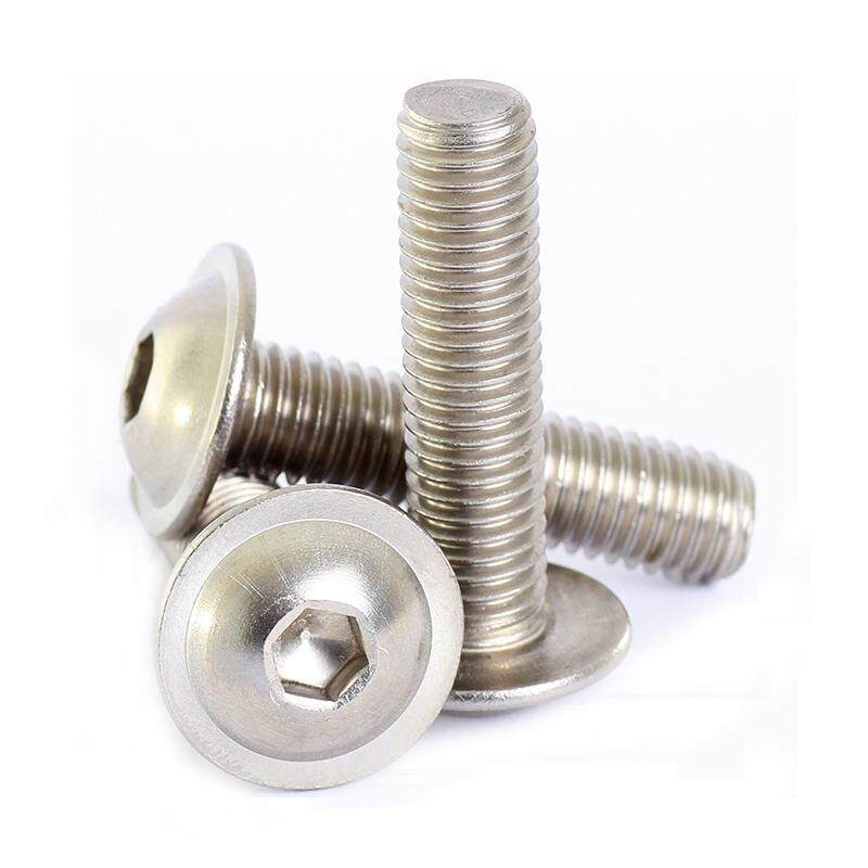 Stainless Hex Socket Flanged Button Head Hex Screws Screws Silver, M6*16mm 50pcs