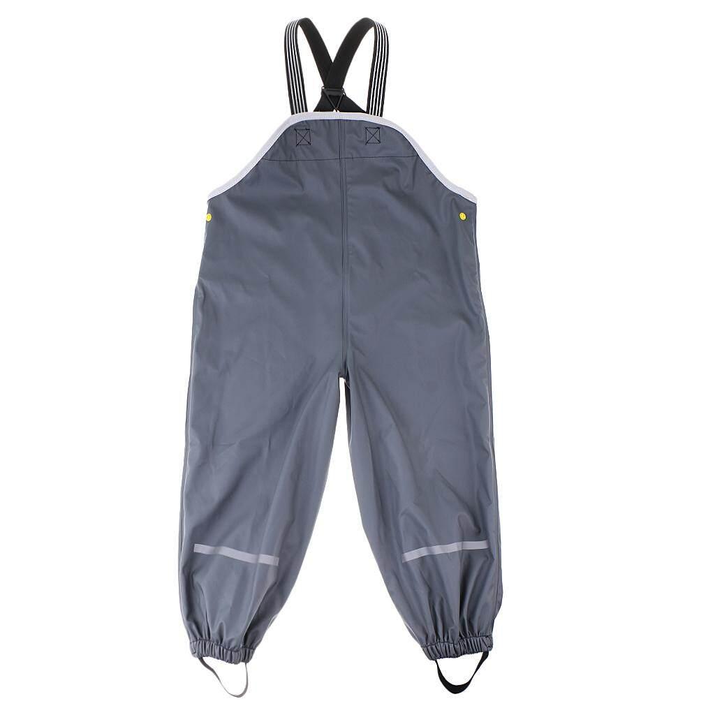 Magideal Anak Laki-laki Perempuan Anti-Air Hujan Celana Celana Panjang Dungarees Raingear S Gray-Internasional