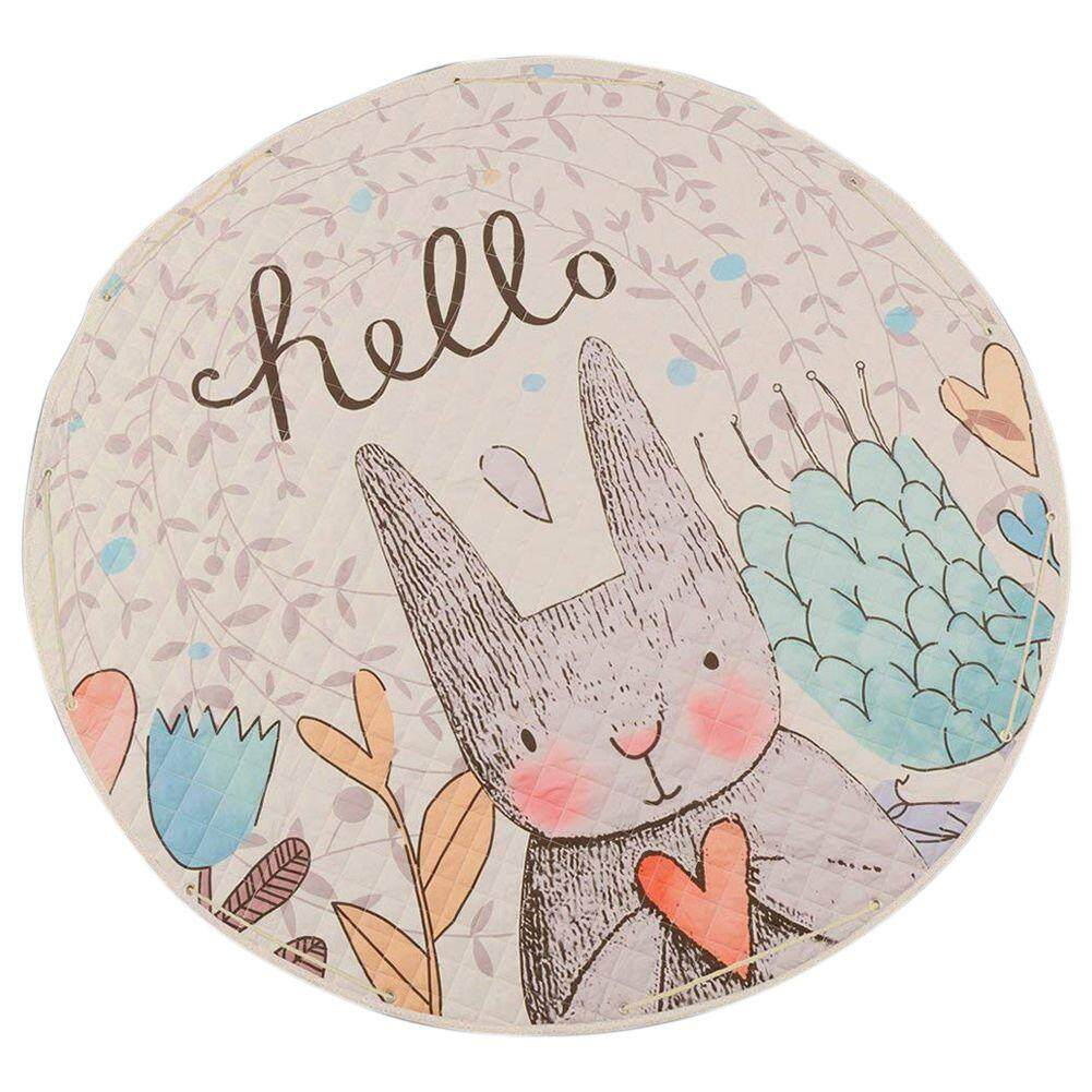 Round Rugs Baby Play Mat Toys Storage Organizer,Nursery Rugs Large polyester Anti-slip Cartoon Animal Baby Floor Mat Game Mat Area with Drawstring for Kids Room Living Room (Rabbit) Free Shipping
