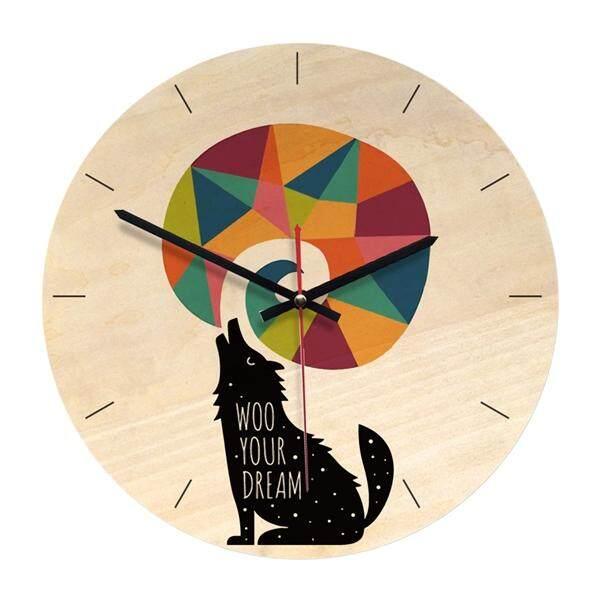 1 PC Kartun Aniomal Pola Acrylic Kayu Jam Dinding Bundar Anak-anak Kamar Tidur Kreatif