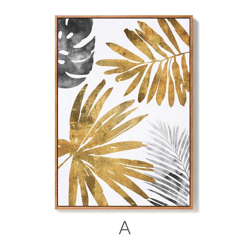 Modern Minimalist Living Room Decorative Painting Northern Europe Restaurant Hotel Entrance Paintings Sofa Wall Mural Golden Leaf