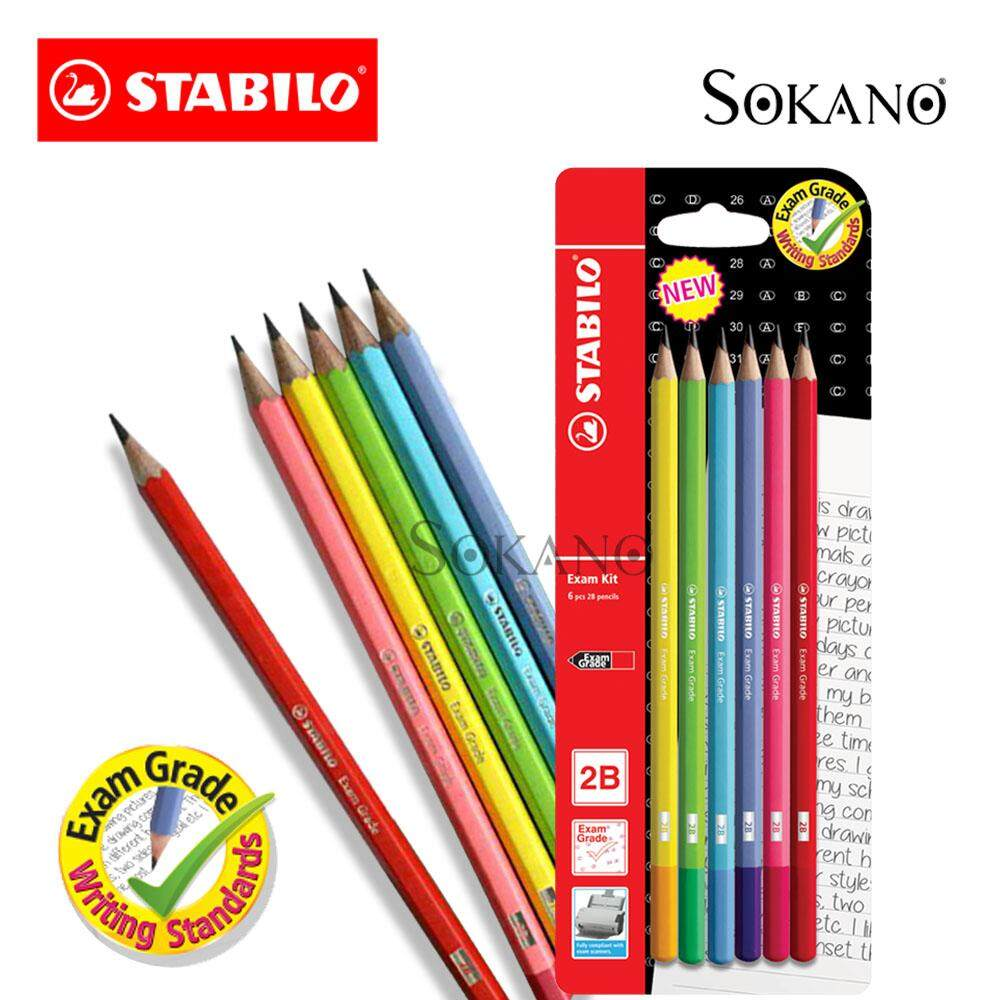 STABILO Exam Grade 2B Writing 6 Pcs Pencil Exam Kit (288GBL6)