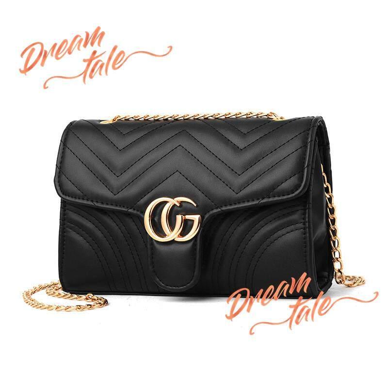 Dreamtale Fashion Europe Classy CG Dinner Clutch Dinner Bag with Gold Chain  Handbeg Wanita 5e0a20f1bf60