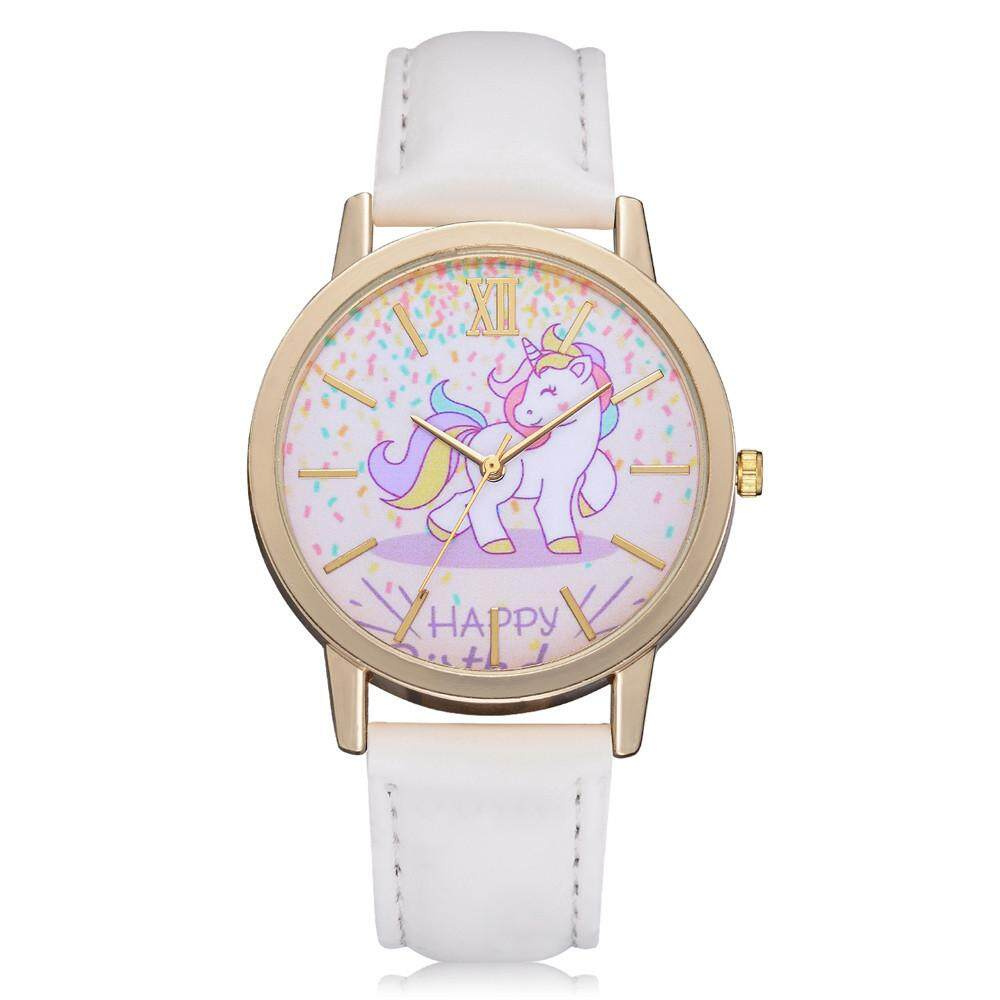 00d2bbd560 CNB2C Hot Sale Women s Fashion Cute Cartoon Horse Leather Strap Kids Girls  Leather Band Watch
