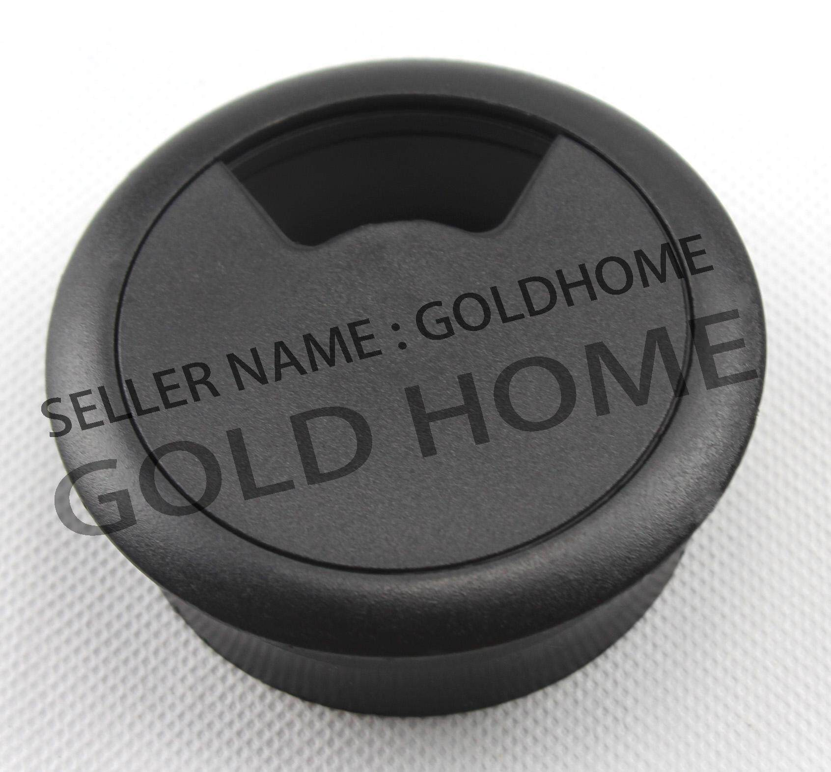 GOLDHOME  60mm PC Computer Desk Plastic Grommet Table Cable Tidy Wire Hole Cover( Black ) Malaysia