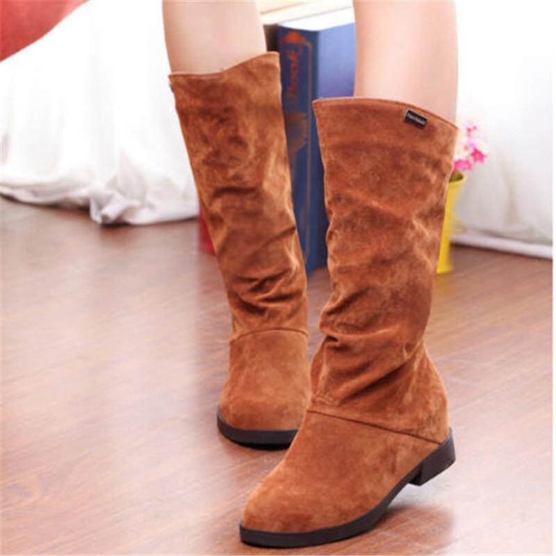 9b6624579eb4 Womens Winter Warm Snow Boots Suede Mid-calf Boots Platform Fashion Flat  Shoes Brown