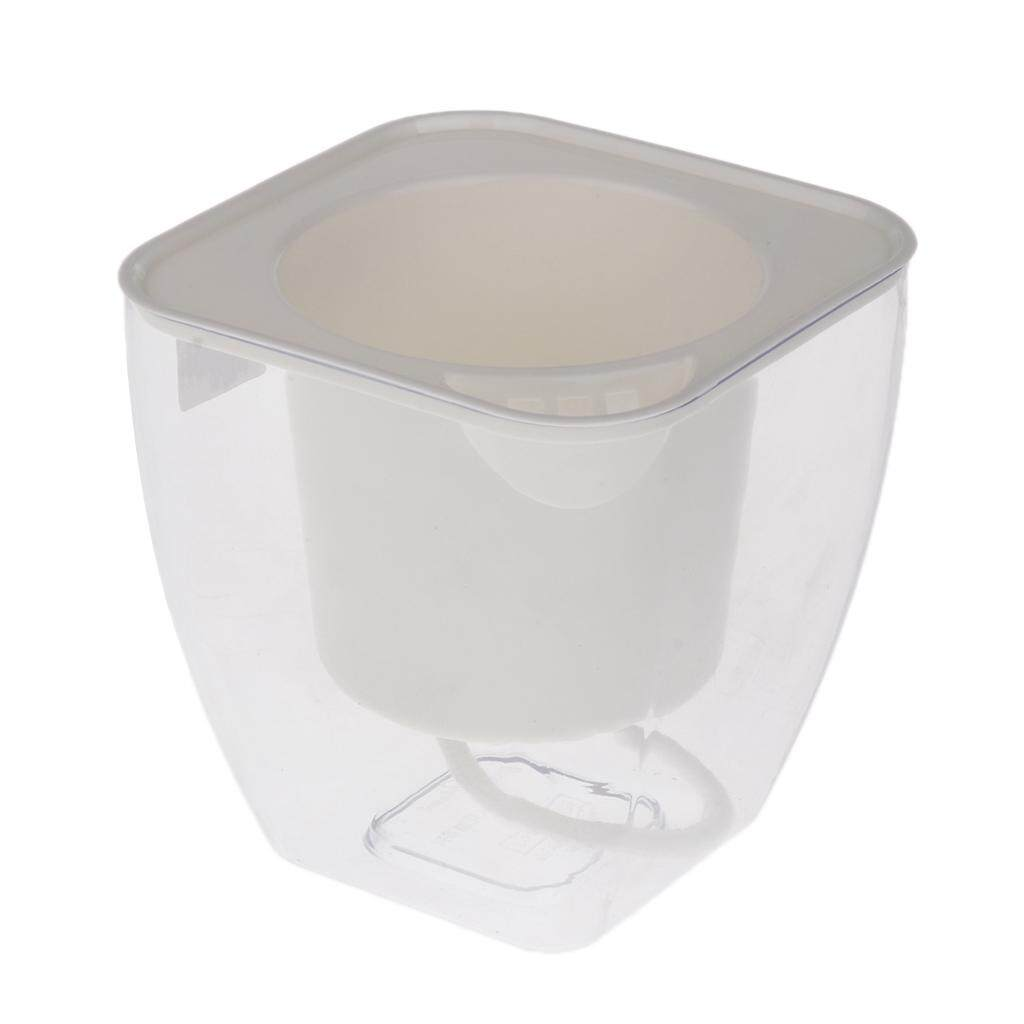 Dolity 2pcs/set Self Watering Automatic Flower Pots for Home Office Desktop Decor