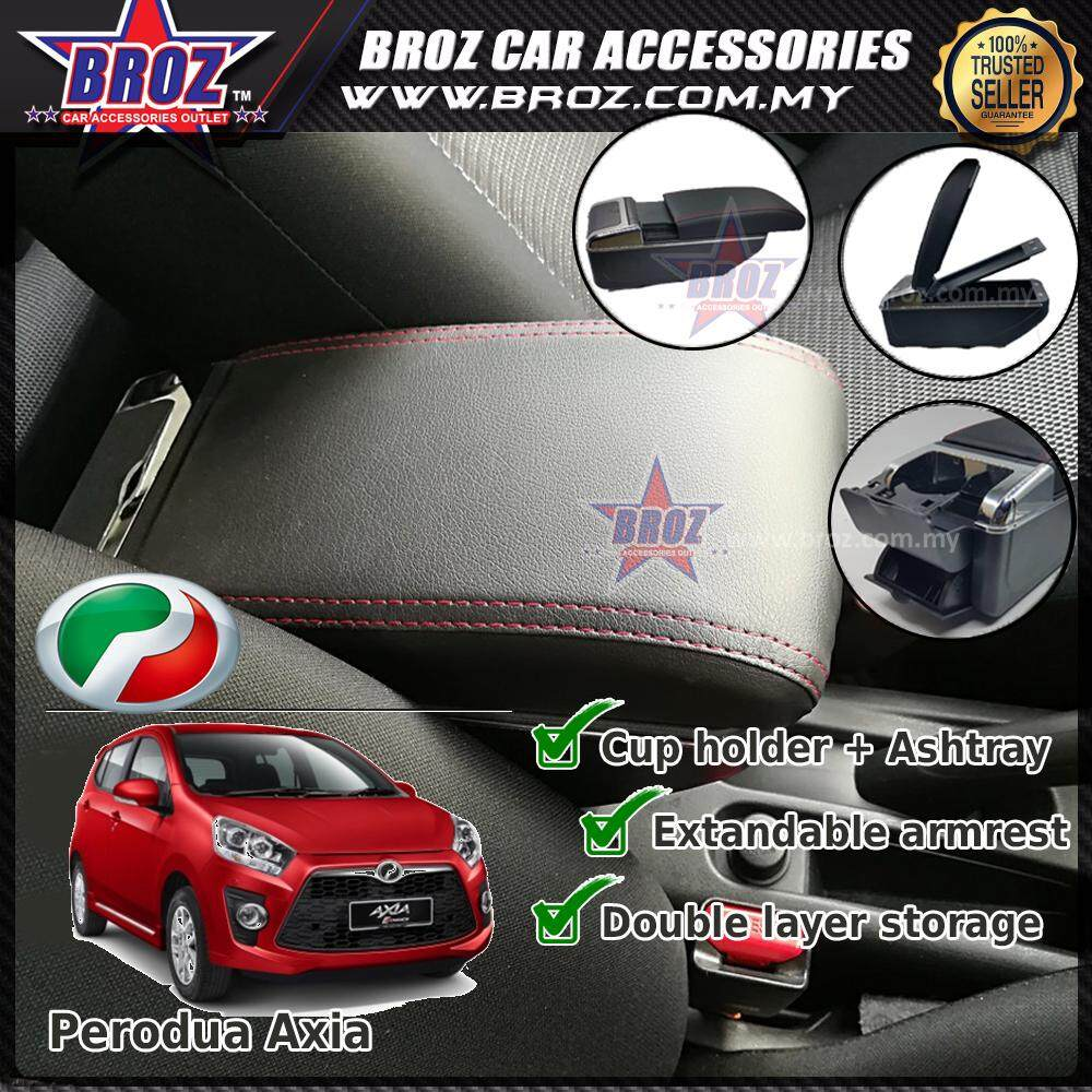 Perodua Axia PVC Adjustable Armrest Center Console Box Black Leather