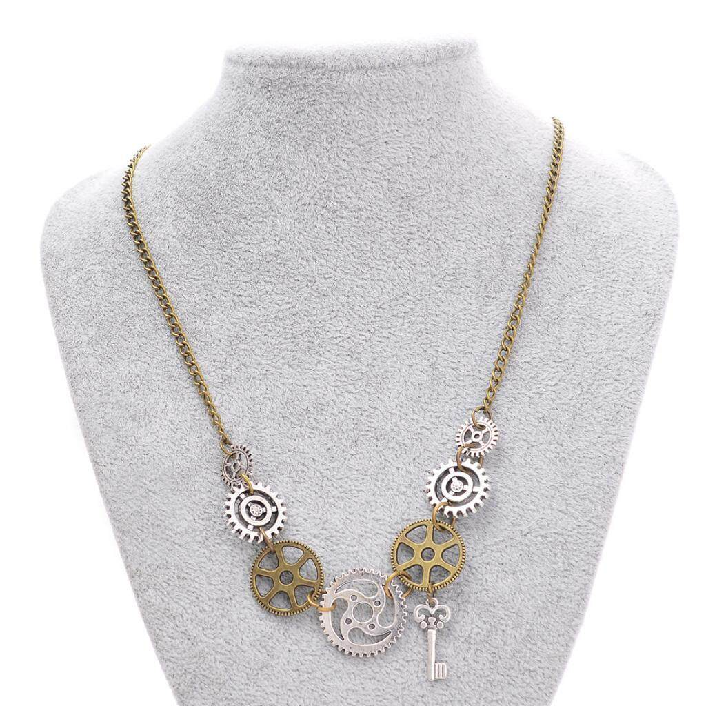 GuangquanStrade Punk Style Mixed Sized Gears with Min Key Pendant Necklace for Women Men