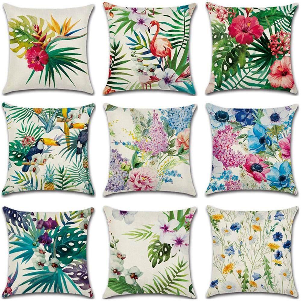 GZ Set of 9 Tropical Flowers Flamingo Hibiscus Throw Sofa Pillow Case Cushion Cover Linen Cotton 45cm*45cm