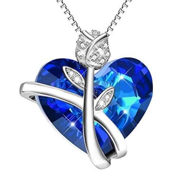 Aoboco Sterling Perak Mawar Jantung Liontin Kalung untuk Wanita dengan Kristal Swarovski, hadiah Hari Ibu untuk Ibu Runcing Perhiasan untuk Kekasih Pacar Perempuan, dengan Hadiah Kotak-Internasional