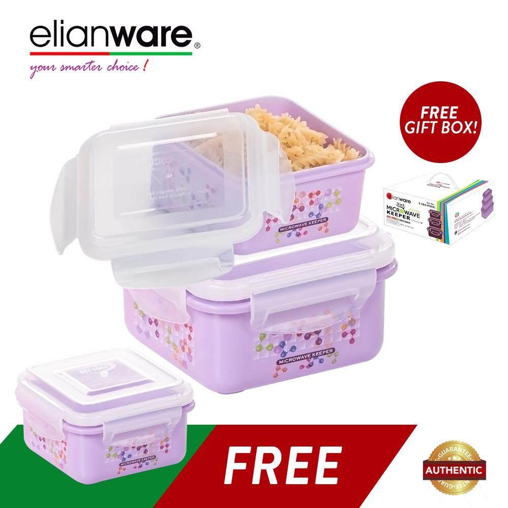 Elianware 3 Pcs Ezy-Lock 100% Airtight Neutron Microwavable Food Containers