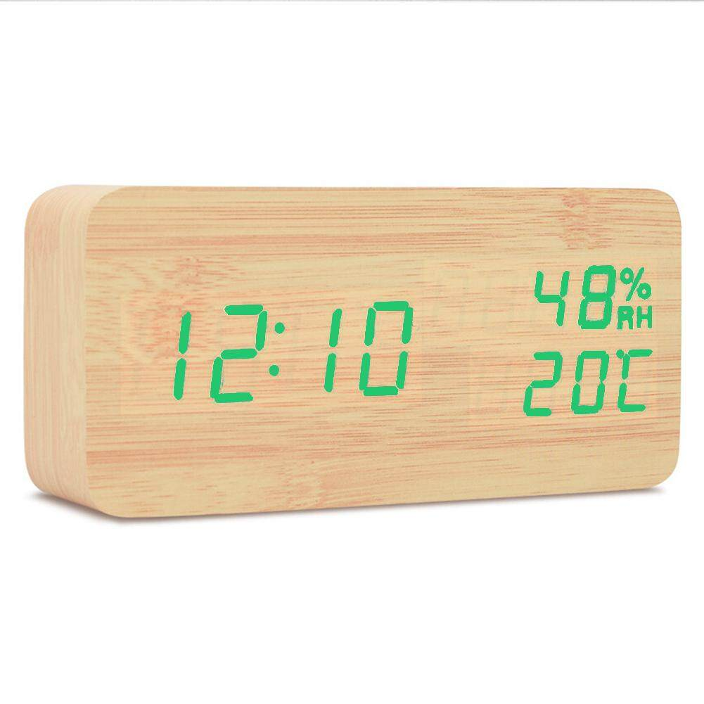 Decorative Temperature And Humidity Table LED Display Power-Saving Desk Digital Bedroom Living Room Wood Desktop Multifunction Classic Bedside Electronic Alarm Clock