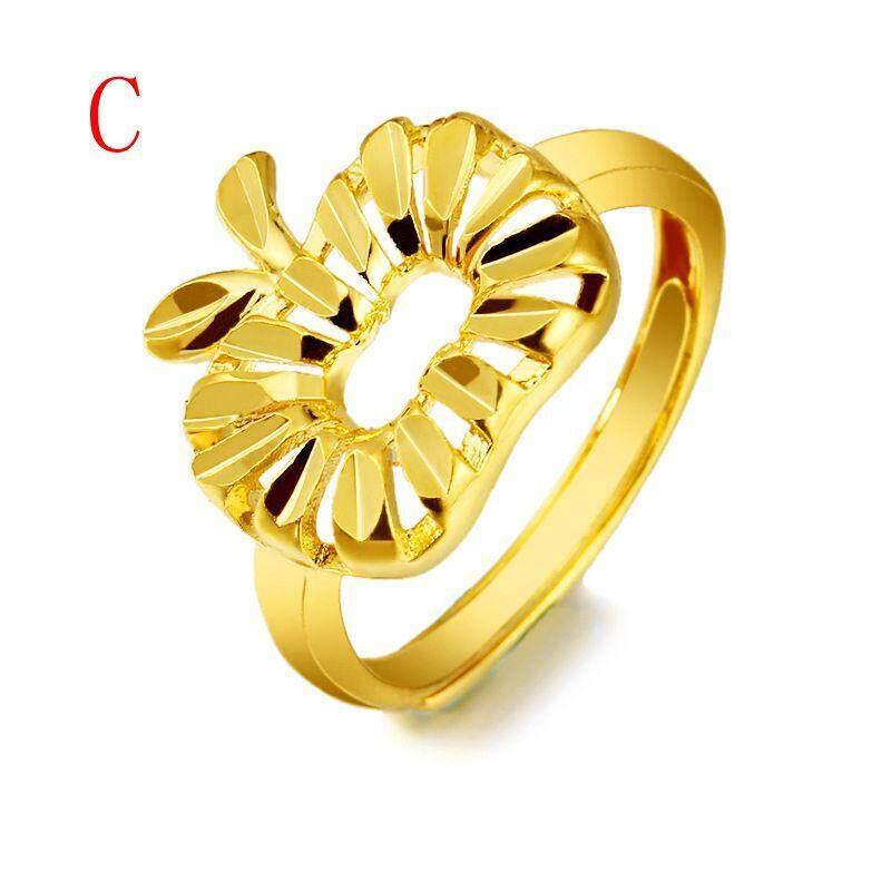Detail Gambar Mewah 24 K Saudi Cincin Lapis Emas Adjustable Terbuka Cincin Hadiah Perhiasan Terbaru