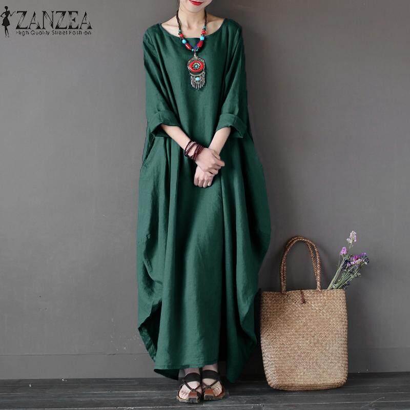 b4874cec23 ZANZEA Womens Crewneck 3 4 Batwing Sleeve Baggy Maxi Long Shirt Dress  Casual Party Kaftan