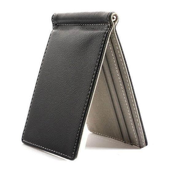 หนัง Faux Slim Mens คลิปผมเงินกระเป๋าสตางค์สีของสัญญาการออกแบบที่เรียบง่าย Burnished ขอบใหม่เอี่ยมผู้ชายกระเป๋าสตางค์ Bifold สีเทา - Intl By Sunnny2015.