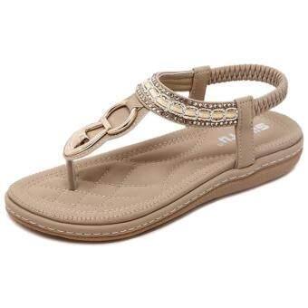 16ec759a284 การส่งเสริม SIKETU Summer Flat Sandals Ladies Bohemia Beach Flip ...