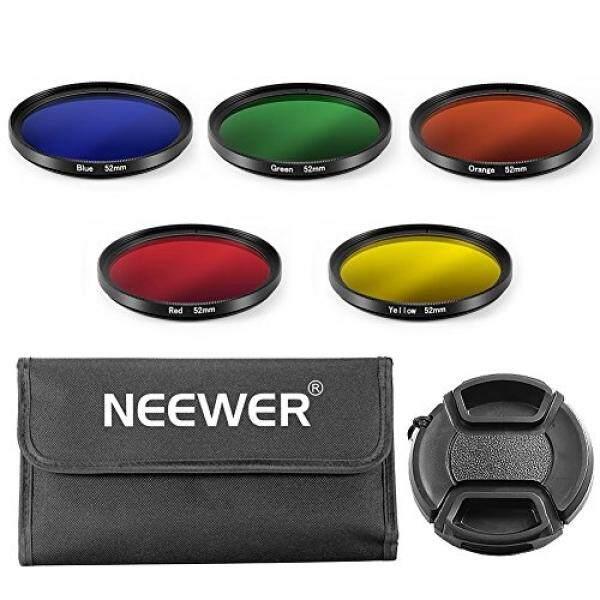 Neewer 52 Mm Warna Kit Filter untuk Nikon Kamera DSLR, Kit Termasuk: (5) penyaring Warna (Biru/Kuning/Orange/Merah/Hijau) + (1) pusat Pinch Tutup Lensa dengan Topi Tali Penjaga + (1) Filter Tas Jinjing-Internasional