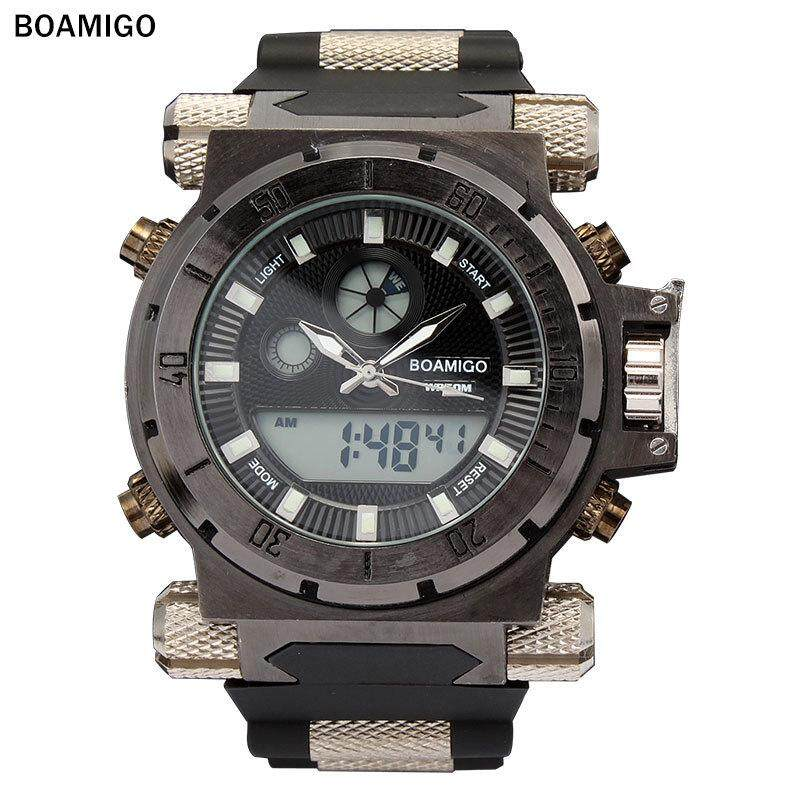 BOAMIGO 50m Waterproof Sports Watch Man Top Brand Dual Time Quartz Watches Mens Big Dail Rubber